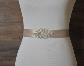 MIA Wedding Sash, Bridal Sash, Crystal Rhinestone Sash, Wedding Belt, Bridal Belt, Wedding Dress Sash Belt, Jeweled Beaded Sash, Champagne