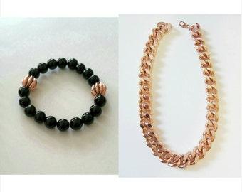 Rose Gold Filled Chunky Chain & Bracelet Set