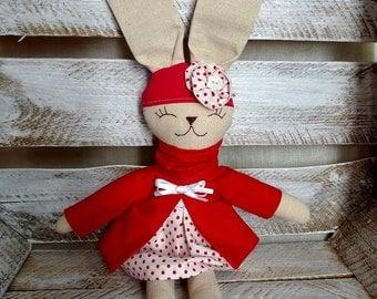 stuffed rabbit handmde bunny cuddly toy red rabbit Christmas rabbit Christmas bunny