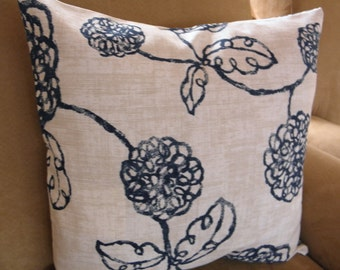 Big Sale !!! Floral Print Blue And Tan Pillow Cover 16x16