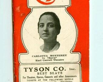 "Vintage Antique ""The Cast"" New York Theatrical Guide 1922 Carlotta Monterey on Cover Theatre Memorabilia History Plays Advertising Ephemera"