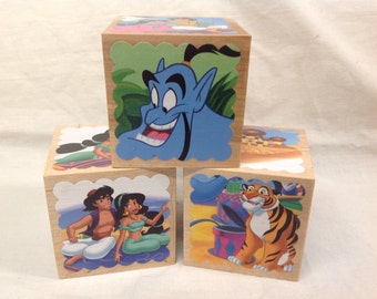 "Aladdin (Jasmine & Aladdin) Storybook Blocks - Set of 3 Wooden Blocks, 2.5"" cubes, featuring 18 different storybook illustrations"