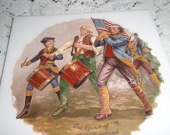 "Spirit of  ""76"" Tile Trivet,Tile wall Hanging, Artist A M Willard Painting on 6 inch tile,Historical Tile Trivet"