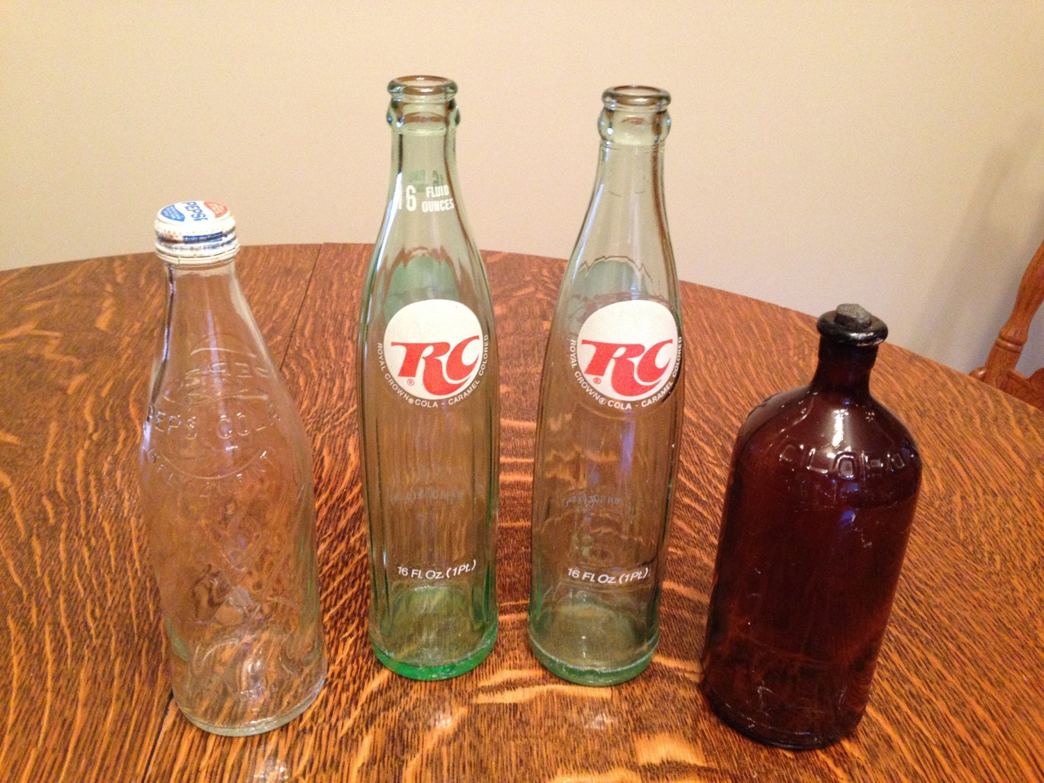 Lot Of 4 Glass Bottles RC Royal Crown Cola Pepsi With Metal