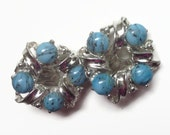 Vintage  Blue and Silvertone Earrings Silver and Faux Turquoise Earings Light Blue Earrings Clip On Silver Blue