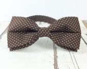 Bow Tie for Men by BartekDesign: pre tied dark brown polka dots informal wedding classic retro vintage