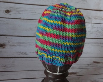 Infant beanie hat in bright primary colors.