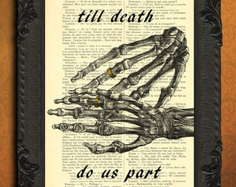till death do us part print anatomical hand print wedding gift forever love art wedding ring