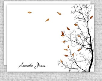 Autumn Tree Personalized Note Cards - Stationery