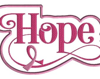 Hope Embroidery Design, Machine embroidery applique, Breast Cancer Awareness, 3 sizes