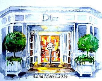Paris Dior Inspired Art Print from Original Watercolor - Dior House in Paris Illustration - Lana Moes Art