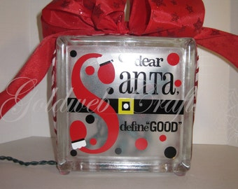 Dear Santa Glass Block with lights and ribbon