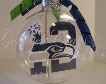 Seattle Seahawks Floating Glass Ball Christmas Ornament