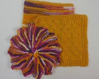 Fiesta Hand Knit Wash Cloth Set