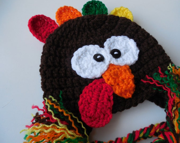 Turkey Hat - Earflap Turkey Hat - Handmade Crochet - Adult Animal Hat - Adult Turkey Hat - Thanksgiving Hat - Made to Order