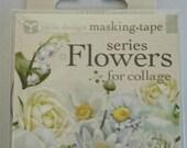 Japanese Washi Tape Yano Design Masking Tape Flowers  for Collage Series - White, Round top Washi Tape wholesale