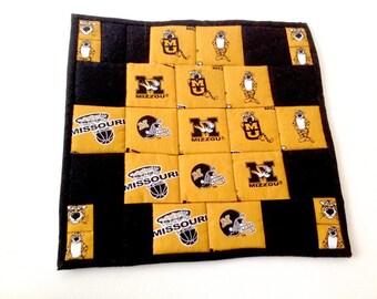 University of MO, MU Fabric, Mo Mini Quilt, Coaster, Mug Rug, Candle Mat, Missouri Tigers, Mizzou