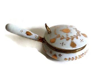 Vintage Silent Butler Porcelain Crumb Catcher White with Hand Painted Gold Insects Made in Japan Mid Century MIJ, Gold Gild Home Decor