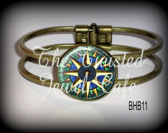 Compass Rose Hinged Cuff Bracelet - Silver, Antique Brass or Gunmetal, Choice of 2 Designs