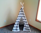 """Teepee Gray and White Stripe Kids Tent 36"""" shown available larger-  Outdoor Gray Stripe Teepee - play fort  Indoor Outdoor Tepee"""
