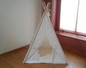 Unbleached Muslin Teepee Tent with Floor Mat  Play Tent with Play Mat plus button back ties gift for kids
