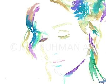 Gratitude Painting, Gratitude Print, Watercolor Print of Portrait, Watercolor Woman, Painting for Her, Art for Her, Abstract Art, Fine Art