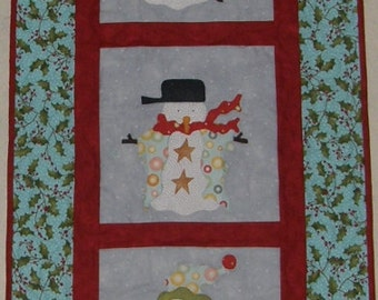 Christmas Snowman Quilted Wall Hanging, Snowman Winter Wall Hanging Red Teal, Snowman Quilt, Quiltsy Handmade, Christmas Gift Quilt, Snowman