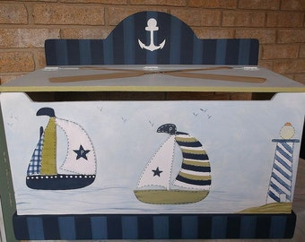 Items Similar To Wood Boat Toy Box Nautical Chest Hand