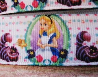"Alice In Wonderland With Cheshire Cat Grosgran Ribbon 7/8"" 22mm (1Yard)"