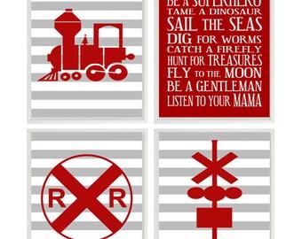 Train Wall Art, Baby Boy Nursery, Train Nursery Print, Red Gray Decor, Stripe Print, Boy Rules, Boy Room Art, Big Boy Room, Train Room