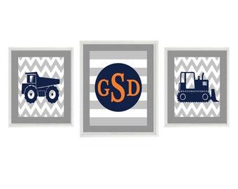 Construction Nursery Art, Baby Boy Room, Navy Blue Orange Gray, Chevron Print, Personalized Nursery Art, Dump Truck, Big Boy Room, Wall Art