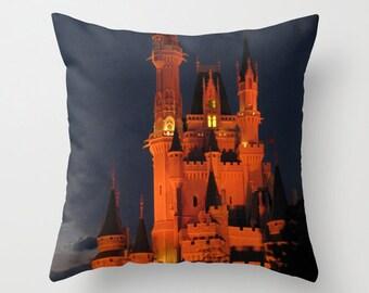 Cinderella Castle Disney Pillowcase, Photo Pillow Case, Disney World Pillow, Castle Pillow, Whimsical, Fairy Tale, 16X16 Pillow Cover 18X18