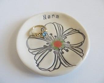 Nana Gift, ring dish, ring holder, white flower, handmade earthenware pottery, Gift Boxed, IN STOCK