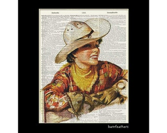 Vintage Cowgirl - Dictionary Art Print - Vintage Illustration - Book Page Art Print No. P400