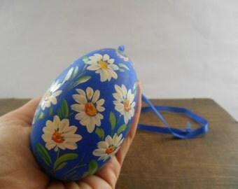 Vintage Wooden egg Handpainted wood egg Blue white floral egg Large Easter egg Easter ornament
