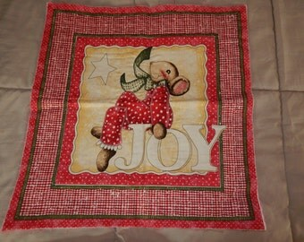 Christmas Mouse  quilted fabric panel