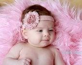 Vintage Pink Floral Shabby Chic Headband..Newborn Headband..Baby Girl Headband..Headband..Infant Headband..Baby Headband.Flower Headband
