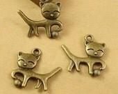 12pcs 18*19MM Antique Bronze Alloy Animal Charms Pendants,Bronze Happy Cat charms