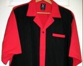 "Hilton Bowling Shirt Button Up Retro Red Black Rayon Blend 2XL XXL Chest 58"""