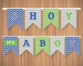 Ahoy! It's a Boy Nautical Baby Shower Bunting Banner - Personalized Printable Bunting Banner