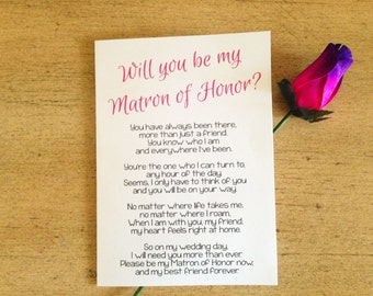 Will You Be My Matron of Honor? Poem - Matron of Honor Card - Printable Greeting Card