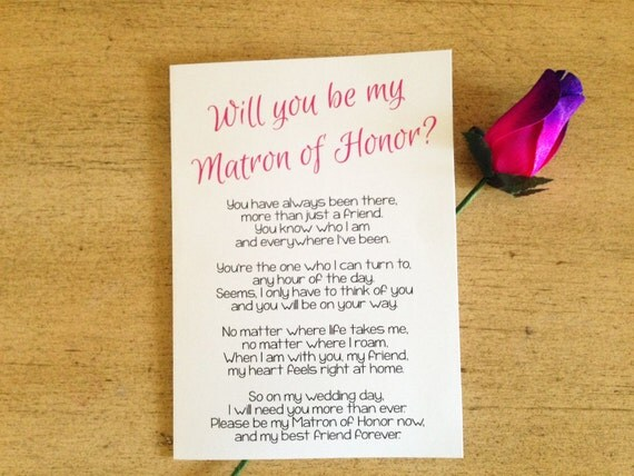 will you be my matron of honor poem matron of honor card