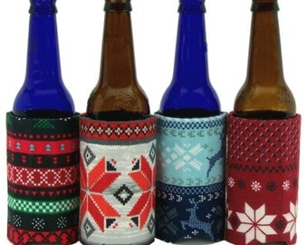 Beverage Insulators 4 #SkiSweater PocketHuggies-Handmade, Eco-Friendly, Cold/Hot 3 sizes-GlassBeerBOTTLE ,CAN, CUP Size #Skiing #UglySweater