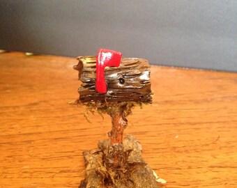Little log fairy garden mailbox