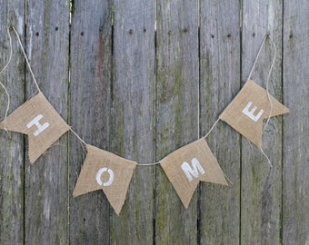 "HOME Bunting. Burlap Garland. ""home""  Banner. Fall Home Decor. Hessian Bunting. Thanksgiving Decor. Rustic Home Decor. House Warming Garland"