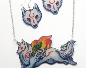 Okami Amaterasu Shiranui White Wolf God Goddess Videogame Myth Fantasy Earrings Necklace