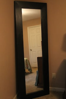 Large floor mirror full length standing mirror leaning for Long black wall mirror