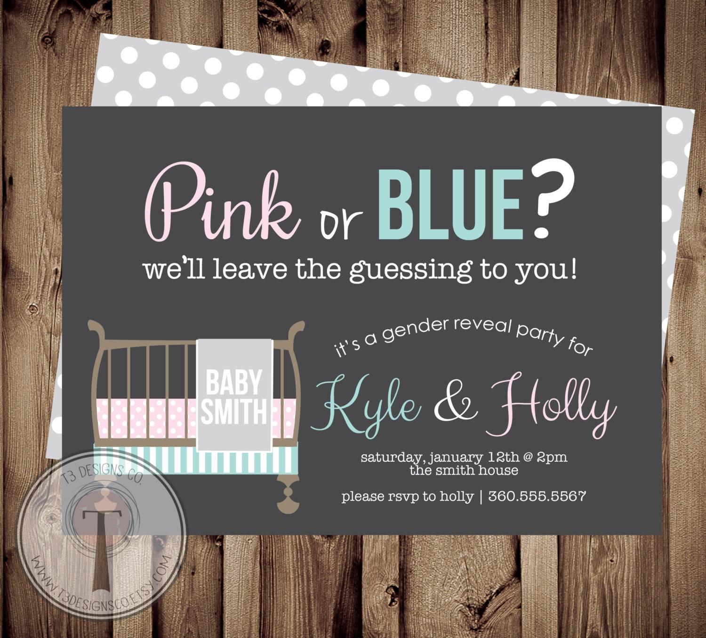 Baby Crib GENDER REVEAL Invitation, Gender Reveal Party Invitation ...