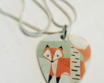 Sly Fox Guitar Pick Pendant and Necklace