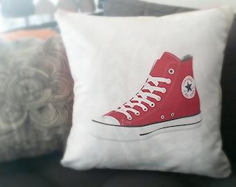 Red Converse Hi-Tops Linen Pillow Case